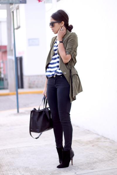 olive green PERSUNMALL jacket - black Zara boots - black black denim Zara jeans