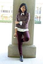 magenta animal print Suburbia sweater - maroon pull&bear pants