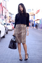 brown leopard print Express skirt - black Forever 21 sweater - black Zara heels