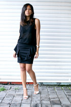 black Zara t-shirt - black Shasa skirt - white Zara sandals
