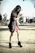 black Zara boots - red vintage dress - gray Bershka sweater