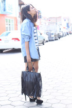 black Romwecom bag - blue denim thrifted vintage shirt