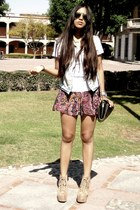Bershka shorts - tan Jeffrey Campbell heels - Zara vest