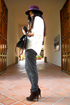 dark brown Zara boots - maroon Zara hat - gray Zara pants - ivory Zara blouse