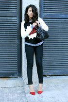 black Zara jeans - black comic trend pull&bear sweater - red Zara heels