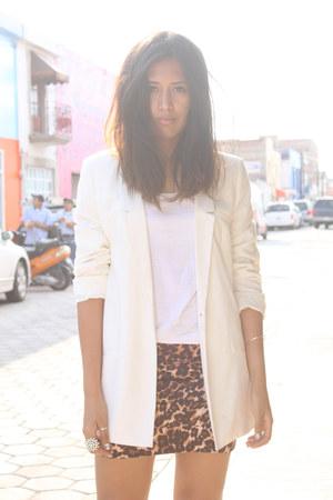 leopard print Shasa skirt - white pull&bear blazer - white Andrea heels