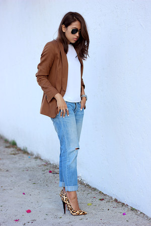 brown Zara blazer - sky blue boyfriend jeans Aeropostale jeans
