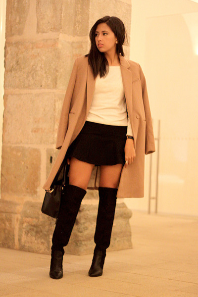 camel H&M coat - black Zara clogs