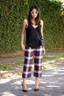 Brick-red-silk-tartan-zara-pants-black-zara-top-black-zara-heels