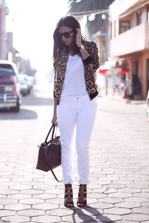 white Zara jeans - brown leopard Choies jacket - white Zara t-shirt