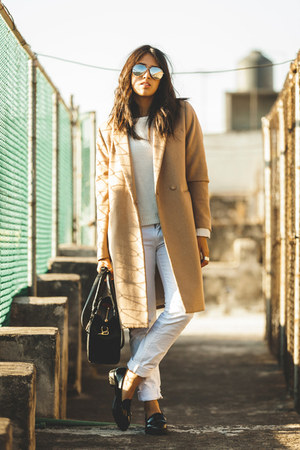 white Zara jeans - camel H&M coat - white Zara sweater - black PERSUNMALL bag
