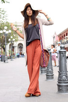 burnt orange LOB pants - beige Bershka hat - camel Zara cardigan