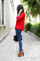 red LOB blouse - bronze Local store boots - navy Zara jeans