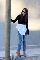 black cropped Zara top - sky blue boyfriend jeans pull&bear jeans
