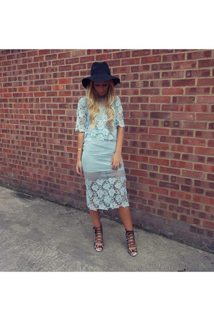 lace midi skirt skirt - black Topshop hat - lace top top