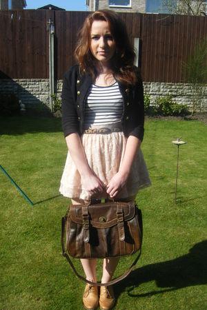 black H&M jacket - white H&M top - brown Accesorize belt - beige H&M skirt - bro