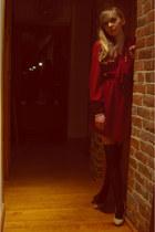 maroon warehouse dress - black Topshop tights - nude heels