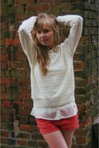 white Primark shirt - white vintage sweater - hot pink Topshop shorts
