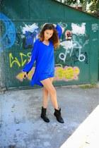 black Zara boots - navy Ebay dress