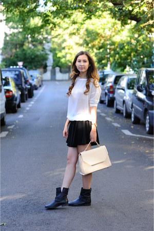 black Zara boots - beige Koton bag - white Bershka blouse