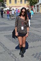 Stradivarius blouse - black boots - crimson New Yorker sunglasses