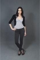 black blazer - silver top - dark gray pants - dark brown heels