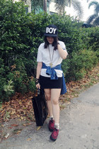 diy anchor DIY top - creepers -- shoes - snapback Boy hat - new look socks