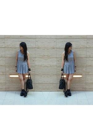 spikes boots - stripes zigzag dress - crochet socks - bandaged skirt