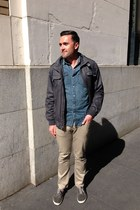 blue denim shirt - gray Vans shoes - gray Members Only jacket - tan khaki pants