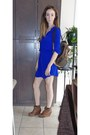 Blue-aritzia-dress-light-brown-louis-vuitton-bag