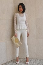 off white peplum lace H&M blouse - ivory Bershka tights