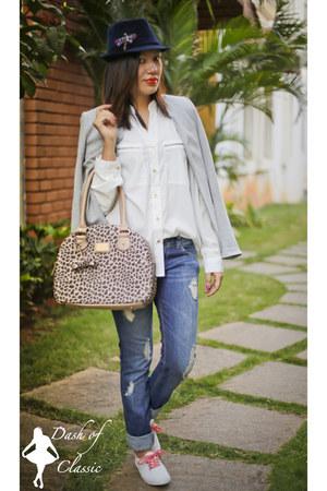 Debenhams bag - Zara jeans - DIY hat - Promod blazer - Yessica blouse