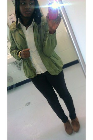 olive green American Eagle jacket - brown Forever 21 shoes - white Gap shirt
