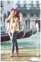 hot pink Borsalino hat - camel Fiori Francesi boots - navy Pinko jeans