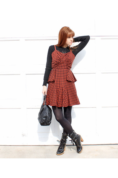 Marc Jacobs boots - Self Designed dress - vintage sweater - Gucci bag