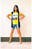 yellow shoes - yellow shirt - blue denim shorts - black vest