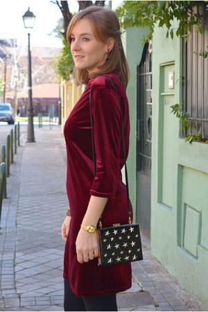 brick red Mulaya dress - black Stradivarius coat - brick red Pull & Bear scarf