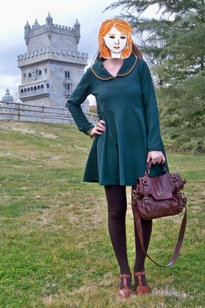 brown Vogue & LV shoes - green kling dress - dark brown Primark tights