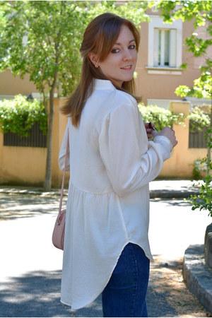 nude H&M shirt - navy Bershka jeans - light pink Primark bag