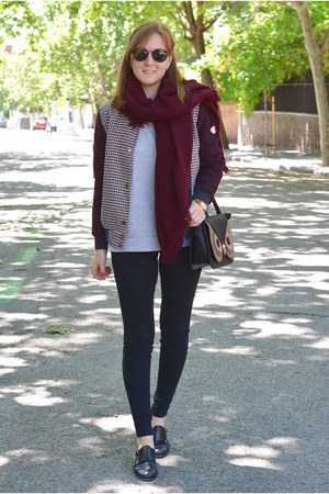 brick red Zara jacket - brick red Pull & Bear scarf - peach Mulaya bag