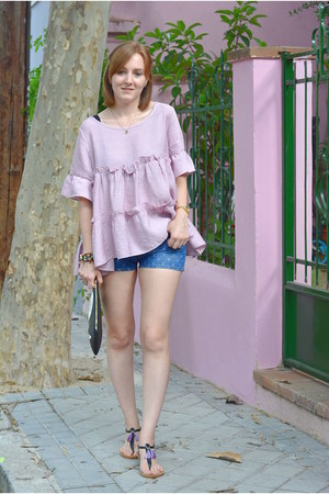 periwinkle zaful shirt - black Stradivarius bag - blue Lefties shorts