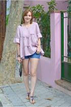 periwinkle zaful shirt - black Stradivarius bag - blue Lefties shorts