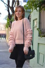 Black-mango-coat-pink-mulaya-sweater-brick-red-pull-bear-scarf