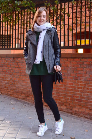 white nike sneakers - charcoal gray H&M jacket - green BLANCO sweater