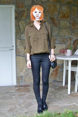 black Vogue & LV shoes - army green Stradivarius shirt - black Stradivarius bag