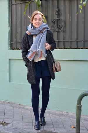 gray BLANCO coat - black Vogue & LV shoes - ivory Mango sweater