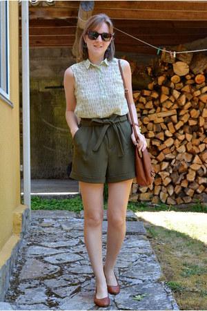 white Pull & Bear shirt - brown suiteblanco bag - dark green suiteblanco shorts