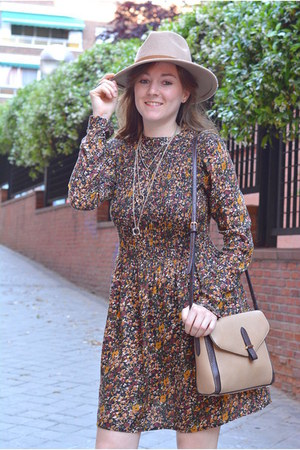 beige Primark hat - dark khaki Mango boots - dark brown Lefties dress
