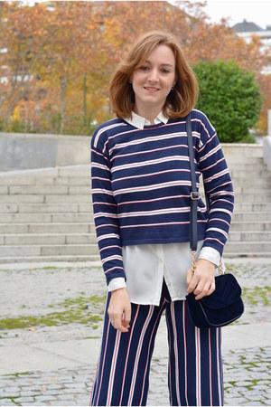 navy DaDa boots - navy zaful sweater - white Pimkie shirt