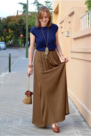 coral Stradivarius bracelet - navy Mango sweater - olive green Zara skirt